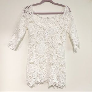 NWT White Crochet Lace Beach Coverup